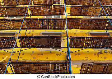 Scaffolding on the wall of a building