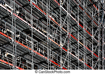 Scaffolding - Stylised image of scaffolding on the side of a...