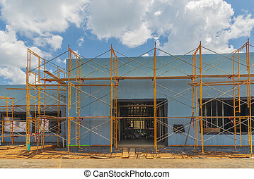 Scaffolding Surrounds New Commercial Building Construction