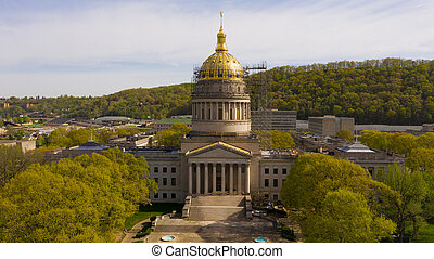 Scaffolding Surrounds the Capital Dome in Charleston West Virginia