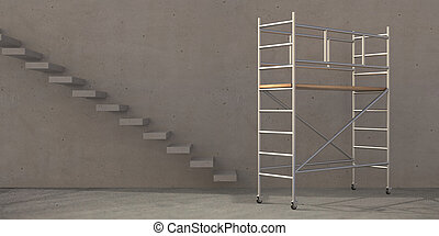 Scaffolding tower on concrete room with stairs background. 3d illustration