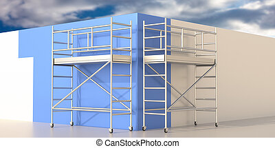 Scaffolding towers, wall painting works on blue cloudy sky background. 3d illustration