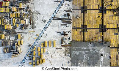 scaffolding., vue, boom, centre, site, grue construction, achats