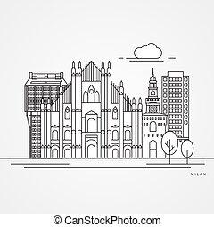 scala, -, シンボル, ベクトル, 大聖堂, イタリア, la, ミラノ, 最新流行である, 詳しい, イラスト, silhouette., ミラノ