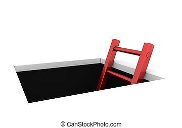scala, -, arrampicarsi, baluginante, buco, rosso, fuori