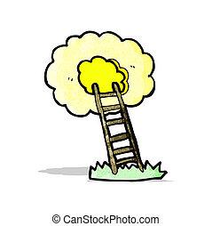 scala, cielo, cartone animato