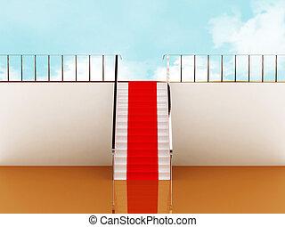 scala, cielo, moquette rossa