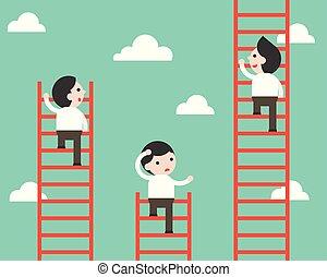 scala, concorrenza, uomo affari, vettore, rampicante, situazione