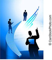 scala, corporativo, fondo, squadra affari