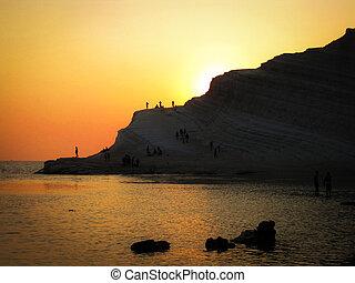 scala, dei, turchi, a, dusk-, turco, scale, agrgento, italia