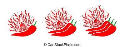 scala, fiamma, piccante, indicatore, cibo, pepe, salsa, mite, vettore, mite, chilli, rosso, hot., extra, forza, caldo, fire., mezzo