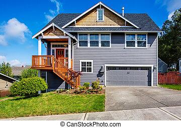 scala, grigio, veranda, casa, lussuoso, fronte