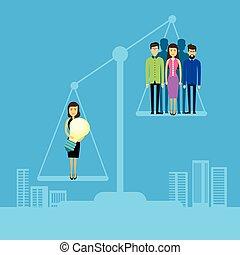 scala, gruppo, persone affari, asiatico, equilibrio