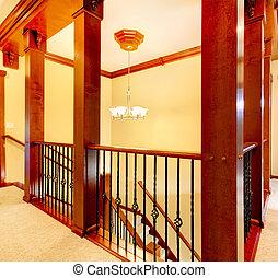scala, metallo, railings., legno, lusso, colonne