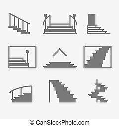 scala, scale, o, icone