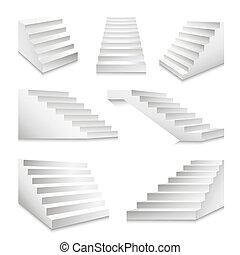 scala, set, icone, isolato, scale, podio, vettore, scale, scale, o, 3d