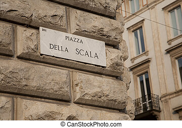 Scala Square Street Sign in Milan, Italy