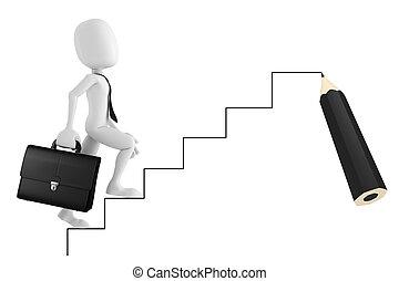 scala, su, andare, uomo affari, uomo, cartone animato, 3d
