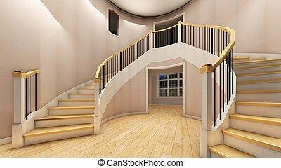 scala, ufficio, moderno, interpretazione, luminoso, 3d