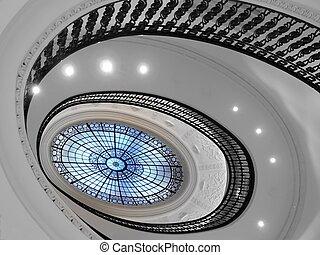 scala, vetro, atrio, spirale