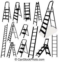 scala, vettore, nero, illustrazione