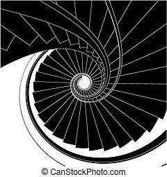 scala, vettore, spirale