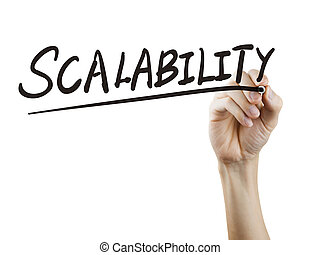 scalability word written by hand over white background
