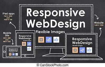 scalable, con, sensibile, disegno web
