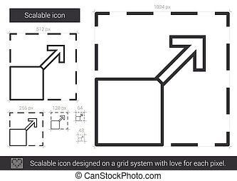 Scalable line icon. - Scalable vector line icon isolated on...