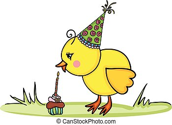 Birthday cute chick