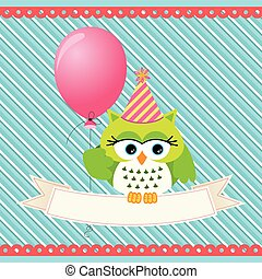 Birthday owl with balloon and banner background