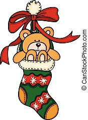 Christmas stocking with teddy bear