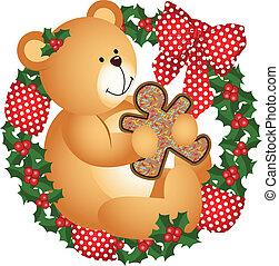 Christmas teddy bear with cookie