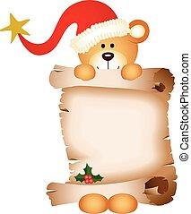 Christmas teddy bear with parchment
