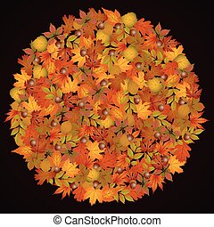 Circle shaped autumn leaves