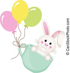 Easter bunny in teacup with balloon - Scalable vectorial...