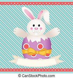 Easter bunny inside egg with banner