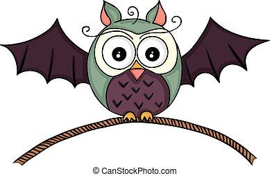 Halloween bat owl