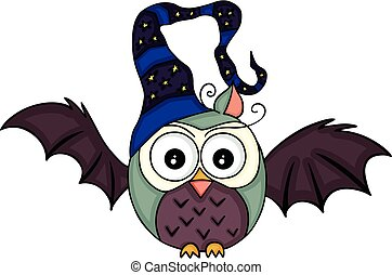 Halloween bat owl with witch hat