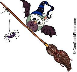 Halloween illustration with owl