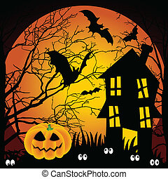 Scalable vectorial image representing a Halloween night haunted house with bats and pumpkin.
