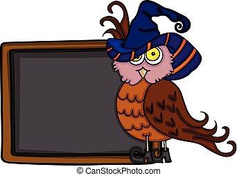 Halloween owl with chalkboard