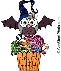Halloween owl with  trick or treat bag filled with candies
