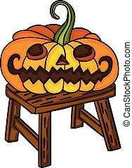 Halloween pumpkin on little wooden bench
