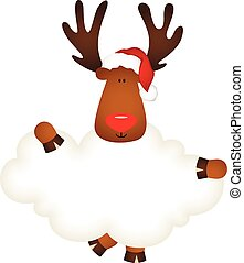 Reindeer with santa claus hat holding blank cloud