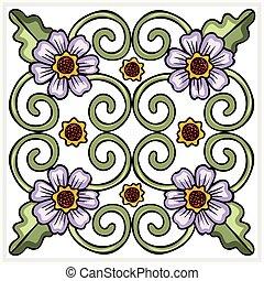 Seamless ornate flower tile