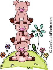 Stack of three little piggies in garden with flowers