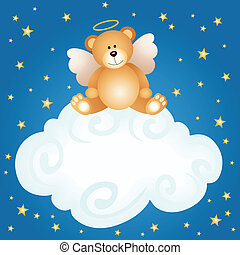 Teddy bear angel baby cloud backgro