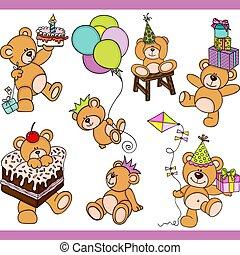 Birthday teddy bear set digital elements