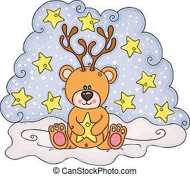Christmas illustration with teddy bear